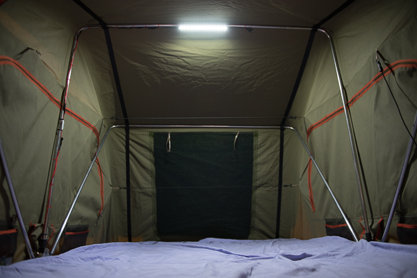 Korr LED light inside a roof top tent