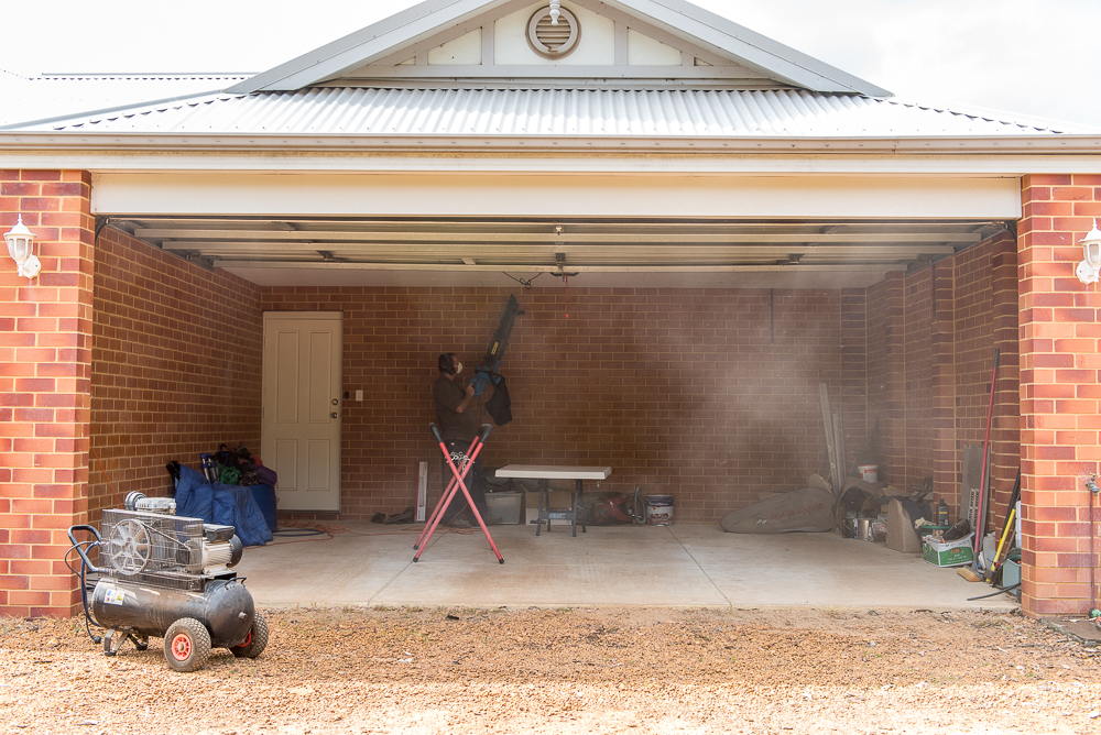 You gotta get rid of as much dust as possible before spraying