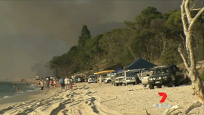 If you can't escape the fire, the beach is a pretty good bet to hide