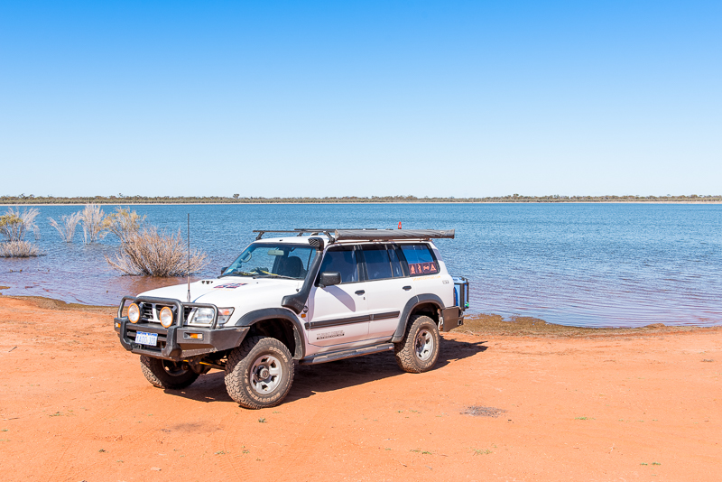 The Patrol parked on the edge of spectacular Rowles Lagoon